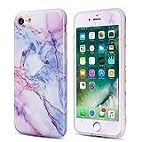 UEEBAI Coque pour iPhone 5 5S Se, Premium Ultra Slim [Marbre de Granit] [Protecteur d'écran en Verre trempé] Anti-Rayures Pare-Chocs TPU Housse Etui en Souple pour iPhone 5/5S/SE - Bleu & Violet