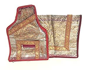 Discount4product Traditional Heavy Saree, Sari, Dress, Kurta And Blouse Protection Cover Bag Pouch Set