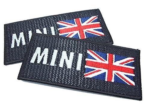 Mini et drapeau britannique, fer sur Patch avec effet optique lock-stitch–2Off