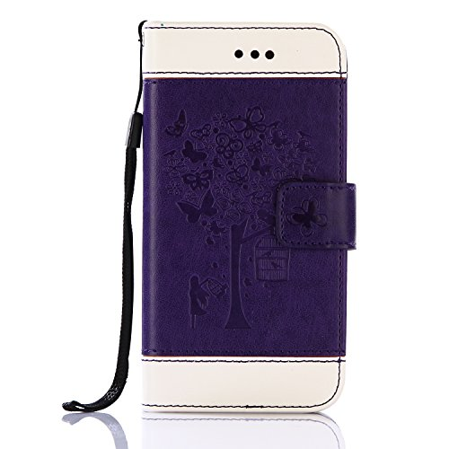 EUWLY Custodia per iPhone 6/iPhone 6S, Lanyard Portafoglio Cover in PU Pelle per iPhone 6/iPhone 6S, Creativo Retro Wallet Custodia [Farfalla, Albero] Ragazza Modello Cover Case per iPhone 6/iPhone 6S Albero Farfalla,Viola