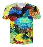 Goodstoworld 3D T Shirt Bunt Druck Herren Damen Printed Sommer Lustig Hippie Beiläufige Kurzarm T-Shirts Tshirt L