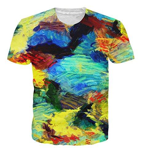 Goodstoworld maglietta variopinta di stampa 3d della maglietta di stampa 3d di estate delle donne variopinte di maglietta a maniche corte casuale di t-shirt di estate grande tee grande