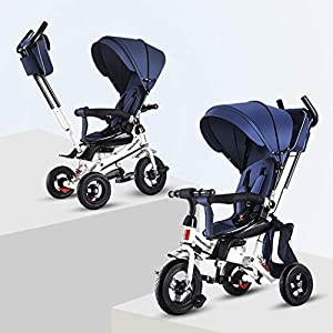 XHYX Infant and child tricycle, bicycle folding 2 to 6 years old rotating seat baby stroller stroller,Blue   15