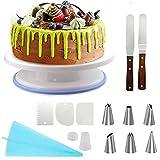 SUPERSUN Tortenplatte Drehbar, Tortenständer Kuchen Drehteller Cake Decorating Turntable mit 2 Stück Winkelpalette Set, 3 Stück Icing Smoother, 6 Spritztüllen für Backen Gebäck, Zuckerguss, Mustern
