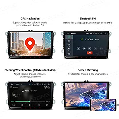 XTRONS-9-4GB-RAM-64GB-ROM-Android-Autoradio-Octa-Core-mit-Touchscreen-Android-90-Autostereo-untersttzt-4G-WiFi-Bluetooth-DAB-OBD2-CAR-Auto-Play-TPMS-Musik-Streaming-FR-VWSEATSkoda