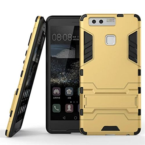 HUAWEI Case Cover HUAWEI P9 Cover, 2 in 1 neue Rüstung Tough Style Hybrid Dual Layer Defender PC harte rückseitige Abdeckung mit Standplatz shockproof Fall für HUAWEI P9 ( Color : Gold , Size : HUAWEI Gold
