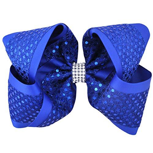 TOUSHIUHUS 12 TEILE/LOS 8 Zoll Strass Mädchen Haarschleife Grosgrainband Hairgrip Krokodilklemmen Headwear Haarschmuck Für Frauen NO5-Royal blue China Blue Royal Satin
