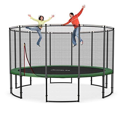 Deluxe Outdoor Trampolin 430 cm Komplettset mit Netz | Gartentrampolin mit dem Maximum an Sicherheit | Belastbarkeit 160 kg | 12 Netzpfosten