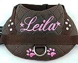 Hundegeschirr S M L XL XXL mit Wunsch Namen bestickt Kunstleder braun rosa mit Glitzer