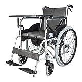 T-Day Rollstühle Rollstühle, Rollstühle Faltbarer Leichter Selbstfahrender Rollstuhl Aus Aluminium, Mit Einer Bettpfanne, Einem Esstisch