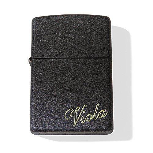 Zippo Black Crackle ; Originales Robustes schwarzes Zippo-Benzinfeuerzeug mit SOFORTGRAVUR + VORSCHAU: Gravur auf der Vorderseite : Vorname (maximal 11 Zeichen)+ optional Datum auf der Rückseite (Hochwertige Zippo-feuerzeug)