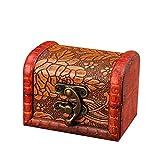 MAZHANG Retro Schmuckschatulle Vintage Holz handgefertigte Box mit Mini Metallschloss für die Aufbewahrung von Schmuck Schatz Perle - Spiegel und Verschluss für Ohrringe, Halsketten (Braun) (A)
