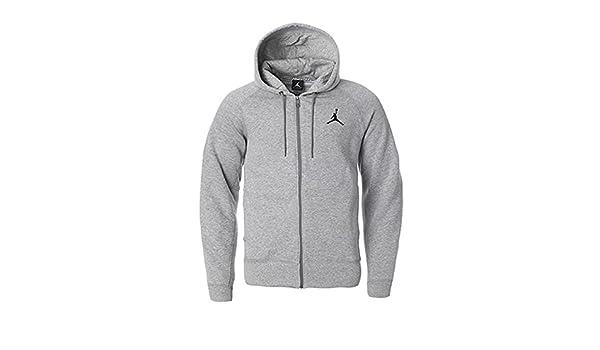 0e46015c48a NIKE Mens Jordan Jumpman Brushed FZ Hooded Sweatshirt Dark Grey Black  688995-063 - Grey -  Amazon.co.uk  Clothing