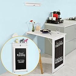 SoBuy® Tavolo da muro pieghevole,con lavagna ,75*50 cm, bianco, FWT20-W