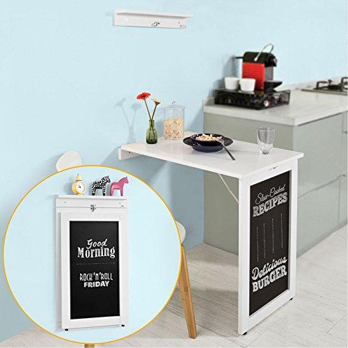 SoBuy® FWT20-W Wandtisch in weiß aus MDF mit Tafel Klapptisch Esstisch Küchentisch Memoboard