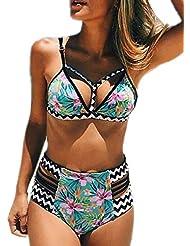 ASSKDAN Femme Bikini 2 Pieces Bandage Imprimé Push-up Rembourré Maillot de bain Shorty Taille Haute