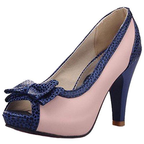 TAOFFEN Damen Gemutlich High Heel Peep-toe Sandalen Schlupfschuhe Office Schuhe mit Bogen Pink pa96gr9F