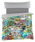 Es-Tela Rebel Juego de Funda Nórdica, 3 Piezas, Impresión Digital, Algodón-Poliéster, Multicolor, 100/110 (Doble), Cama de 105 cm