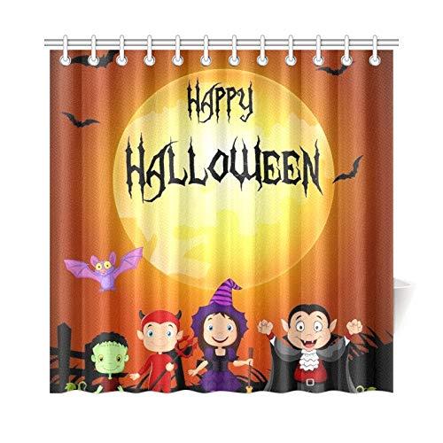 JOCHUAN Wohnkultur Bad Vorhang Halloween Glückliche Kleine Kinder Kostüm Polyester Stoff Wasserdicht Duschvorhang Für Badezimmer, 72X72 Zoll Duschvorhänge Haken Enthalten
