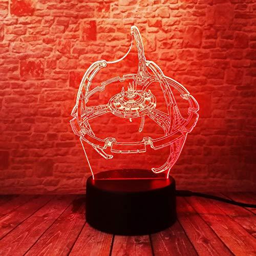 Lampes 3D,Star Trek Cartoon,7 couleurs Changement tactile/commutateur à distance Decoration Lampes de décoration de bureau Anniversaire Présent Baby Light,Base acrylique & ABS et câble USB & piles AA