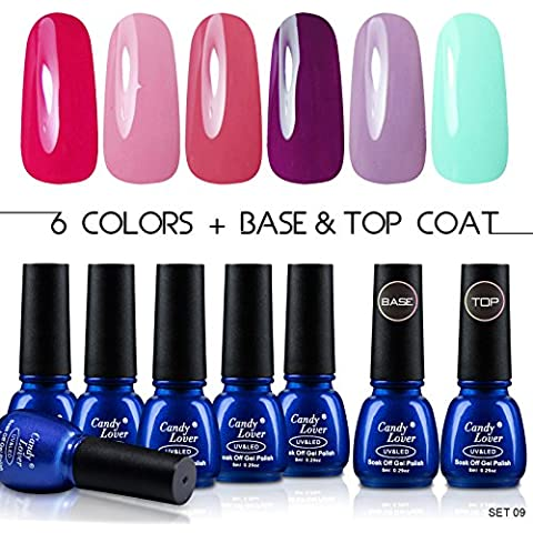 Candy Lover Smalto 6 colori differenti unghie gel + Top Coat + Gel Base Set Kit Colori Gel Semipermanente UV LED Ricostruzione Unghie Arte #009