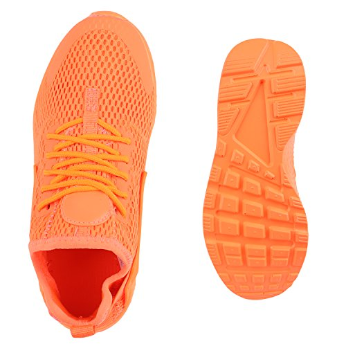 Damen Herren Laufschuhe Runners Bequeme Sportschuhe Profilsohle Neonorange Brooklyn