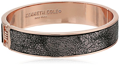 Kenneth Cole New York Supercharged Collection Women's Rose Gold Hinge with Grey Leather Bangle Bracelet