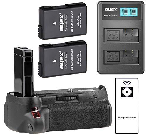 ayex Batteriegriff für Nikon D5500 und D5600 mit IR-Fernauslöser (ähnlich wie MB-D5500) + 2X ayex EN-EL14 Akku + USB Dual-Ladegerät - Aktions-Paket zum Vorteilspreis, 100% kompatibel 2 X Akku Usb