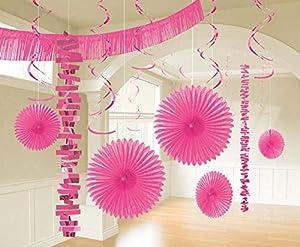 Amscan International-241700-103-55kit de decoración de habitación rosa brillante