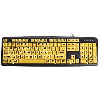 Tutoy Large Print Usb Computer Keyboard High Contrast Yellow Keys Black Letter For Elder
