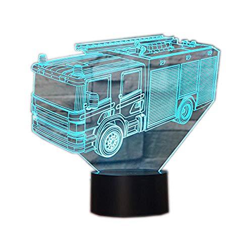 3D Illusion Lampen Feuerwehrauto 7 Farben Led Nachtlicht Touch-Schalter Schlafzimmer Schreibtisch Beleuchtung für Kinder Geschenke Haus Dekoration Lampe-haus
