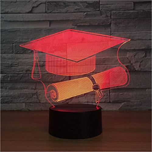 Doktor Hut 3D-Licht Led Nachtlicht Lampe 7 Farbwechsel Tisch Schreibtischlampe Als Erinnerungsgeschenk Für Doktoranden Nachtlicht Geschenk