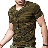 XDIAN Herren T-Shirt Camouflage Camouflage Gr. XL, Camouflage