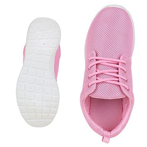 Flache Unisex Damen Herren Laufschuhe Profilsohle Sportschuhe Schnüren Sneakers Freizeitschuhe VanHill Pink Pink Weiss