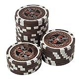 50 Pokerchips 13g Clay (Ton) Laser Metallkern Ultimate hochwertige Markenware einzigartig (braun - Wert 50000)