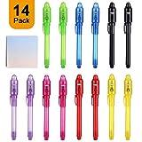 14pcs Spy Pen Stylo espion à encre invisible Et des notes, Secret lumière UV Pen pour marqueurs pour enfants anniversaire cadeaux amusants fête activitéurprises
