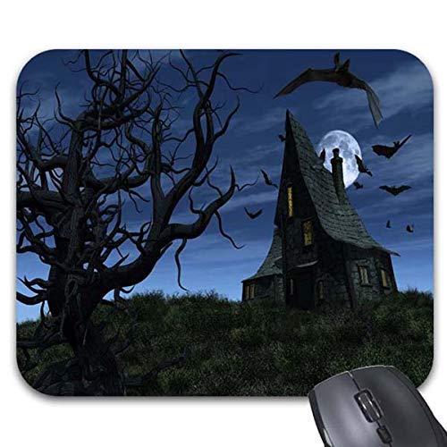 Halloween Scary Haunted House Bats Full Moon Creepy Tree Mouse Pad -Office Gaming Desktop Accessory