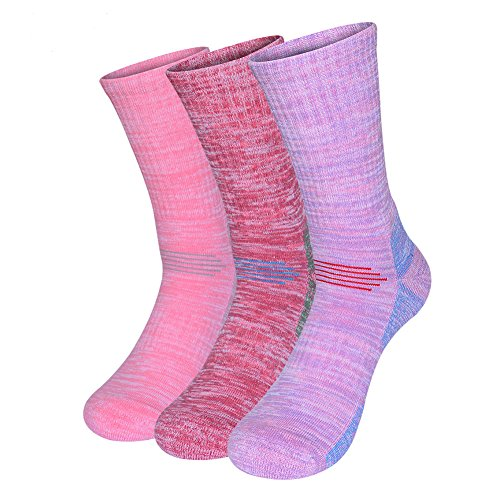 Tan Herren-socken (Uniprime Wandersocken feuchtigkeitsableitend mittelschwer Baumwolle Crew Socken für Damen Herren 3 Paar, Damen, Pink/Red/Purple, Middle)