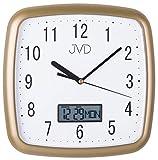 JVD DH615.3 Wanduhr Quarz analog weiß golden mit Datum und Wochentag