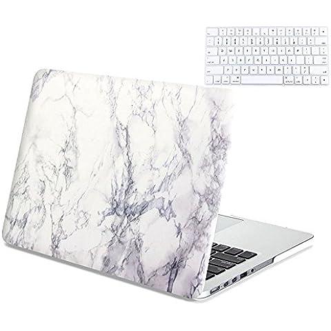 Ac.y.c caso de Macbook de mármol blanco Patrón cubierta del estuche rígido liso para Macbook Pro de 15 pulgadas (no apto para MacBook Pro 15 con Retina Display) + Junta tecla blanca de la
