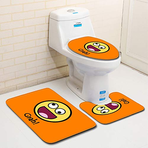 Jaminy Niedlicher Cartoon 3 Stück Toiletten-Abdeckung Set Bad WC Set Sitzbezug (Bad Teppich + Pedestal Teppich + Toilettensitzabdeckung) Badezimmer Teppich Teppich Anti-Rutsch 3 Stück Badematte Set (A)