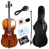 Yinfente électrique acoustique pour violoncelle 4/4Érable massif en épicéa Bois Ébène Fixations Sweet avec un son Violoncelle Sac Nœud marron
