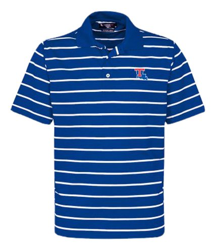 Oxford NCAA Herren Poloshirt Louisiana Tech Bulldogge, gestreift, Größe XL, Ultramarinebraun/Weiß -