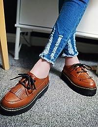 ZQ hug Zapatos de mujer - Plataforma - Comfort / Punta Cerrada - Oxfords - Exterior / Casual - Semicuero - Negro / Blanco / Bermellón , black-us8 / eu39 / uk6 / cn39 , black-us8 / eu39 / uk6 / cn39