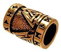 Aufwändig gestaltete Bart- bzw. Haarperle aus Bronze. Die Perle ist rundum mit Wotansknoten und Runen verziert und teilweise geschwärzt. Maße: ca. 15 mm hoch, ca. 10 mm breit. Innendurchmesser: ca. 7 mm, Gewicht: ca. 4 g.