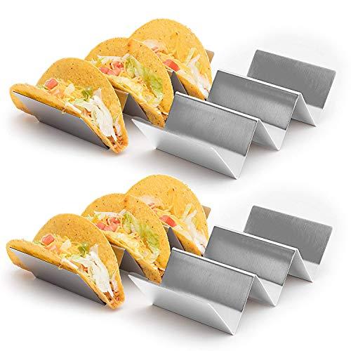 Favson 4 Stück – Stilvoller Edelstahl Taco-Halter Ständer Taco Truck Tray Style, Rack hält bis zu 3 Tacos jeder, ofenfest zum Backen, Spülmaschine und Grill sicher, 10,2 x 20,3 cm