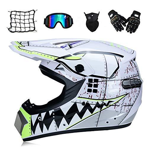 MRDEAR Squalo Bianco - Moto Casco Motocross Kit con Occhiali, Guanti, Face Mask, Rete Elastica Moto, Casco da Cross Bambino Caschi Moto Offroad Enduro Downhill Sport,M