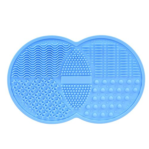 Babysbreath Maquillage Brush Cleaning Mat Cosmétique Brush Cleaner Pad Silicone Machine à laver Scrubber Suction Cup bleu
