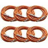 "Seismic Audio - 6 Pack Of Orange 1/4"" TRS 25' Patch Cable - Balanced Effects EQ Orange - SATRX-25Orange6"