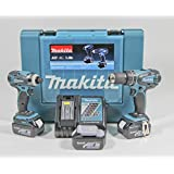 Makita DLX2012X1 18V Li-Ion Combi Drill Plus Impact Driver Cordless Kit with 3 x 3Ah Batteries